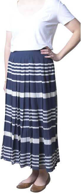 Madewell Navy/White Silk Striped Pleated Skirt Size 6 (S, 28) Madewell Navy/White Silk Striped Pleated Skirt Size 6 (S, 28) Image 1