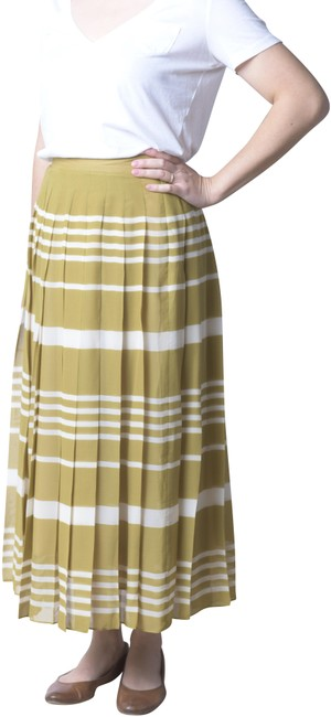 Madewell Olive/Ivory Silk Pleated Skirt Size 4 (S, 27) Madewell Olive/Ivory Silk Pleated Skirt Size 4 (S, 27) Image 1