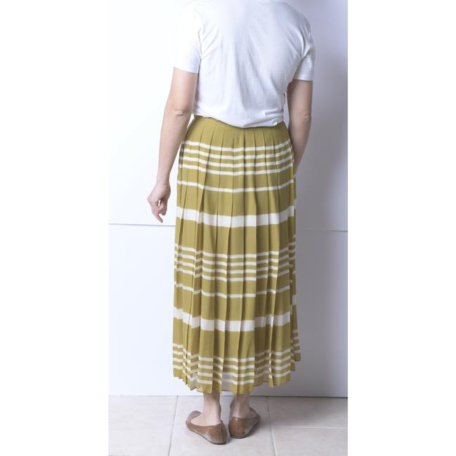 Madewell Olive/Ivory Silk Pleated Skirt Size 4 (S, 27) Madewell Olive/Ivory Silk Pleated Skirt Size 4 (S, 27) Image 4