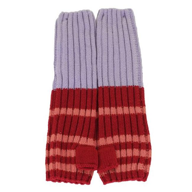 Item - Red Multi Uptown Ribbed Stripe Knit Long Fingerless Gloves Arm Warmers One Size.