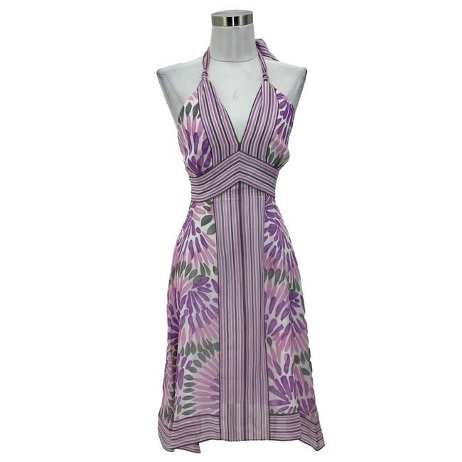Item - Purple XS N167 Bcbg Max Azria Designer Halter Mid-length Formal Dress Size 0 (XS)