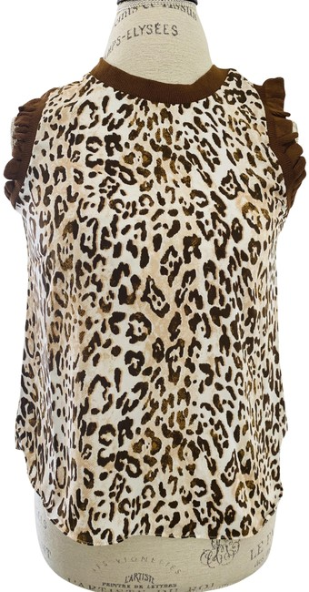 Item - Brown Leopard Print Sleeveless Ruffle Trim High Neck Blouse Size 2 (XS)