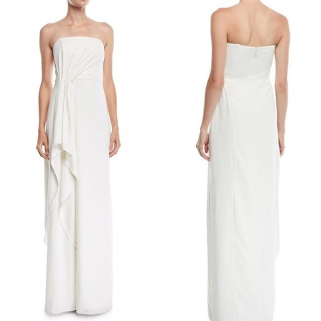 Item - White W Strapless Crepe Gown W/ Draped Front Long Formal Dress Size 12 (L)