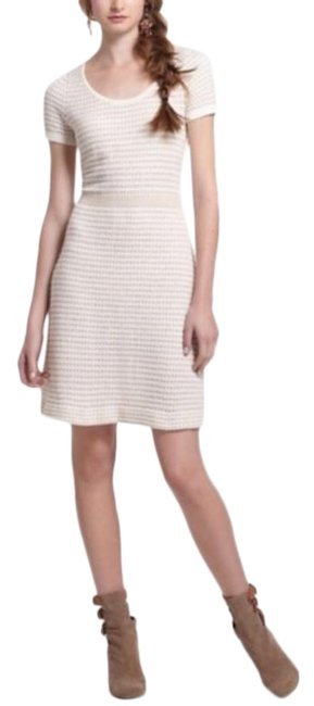 Item - Cream Gold Sparrow Natural Gilt Grid Sweater Short Casual Dress Size Petite 2 (XS)