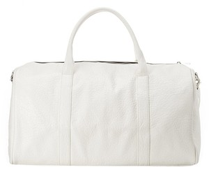 Faux Leather Duffle White Travel Bag