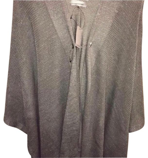 Item - Silver Metallic Poncho/ Cape with Slightly Glittering Scarf/Wrap