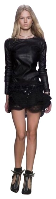 Item - Black Qing Ruffle-trimmed Sequined Skirt Size 8 (M, 29, 30)