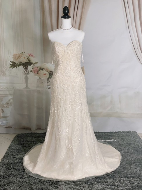 Item - Champagne Cream Lace Luxury Crystal Beaded Strapless Mermaid Formal Wedding Dress Size 6 (S)