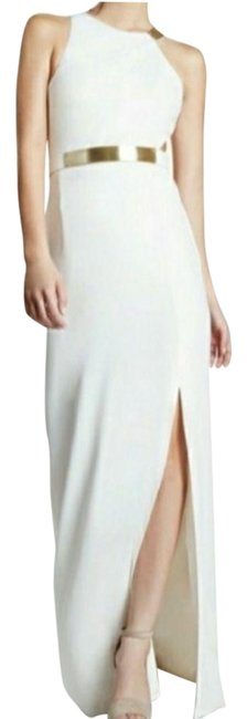 Item - White Metal Plate Crepe Gown Long Formal Dress Size 14 (L)
