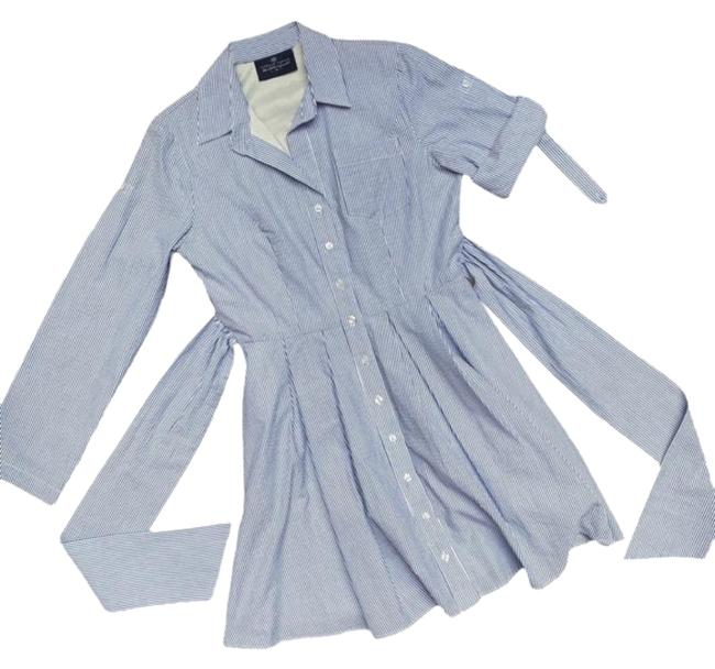 Item - Blue White Striped Long Sleeve Short Casual Dress Size 8 (M)