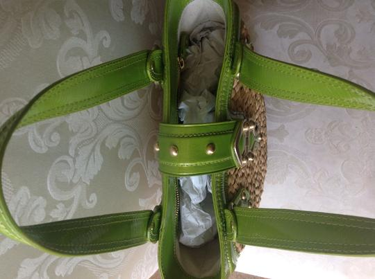 Michael Kors Trim Gold Hardware Shopper Tote in Beige Straw With Green Patent Leather