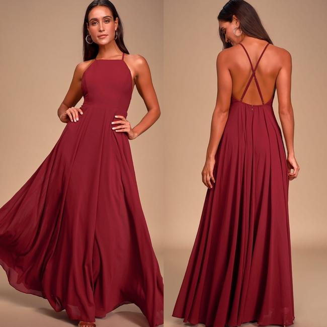 Item - Wine Polyester Mythical Kind Of Love Formal Bridesmaid/Mob Dress Size 8 (M)