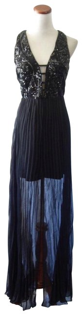 Item - Black New Sequin Bodice Grecian Pleated Chiffon Slit Evening Long Cocktail Dress Size 4 (S)