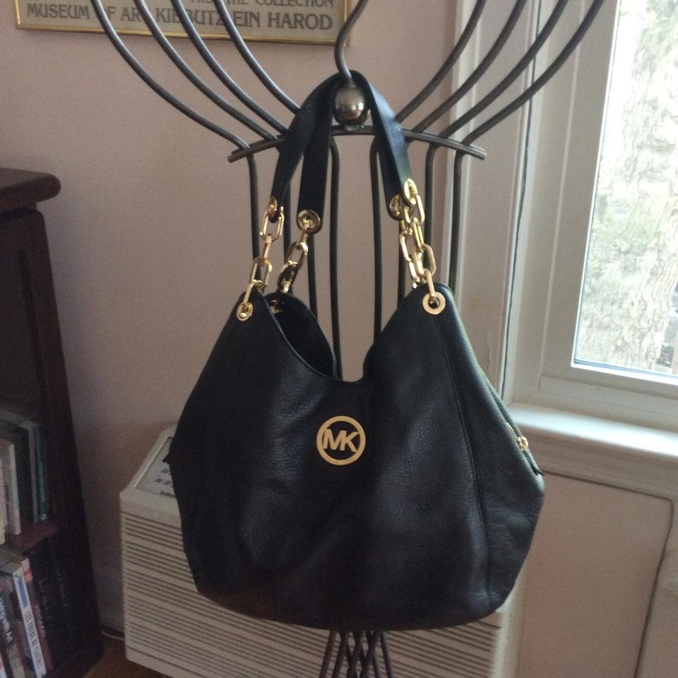 Michael Kors Black With Gold Chain Link Handles Leather