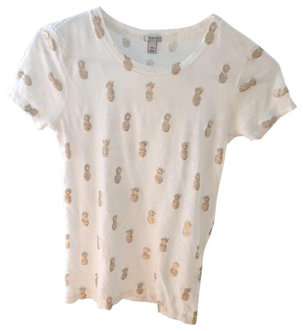 Item - Ivory with Metallic Gold Welcome Tee Shirt Size 00 (XXS)