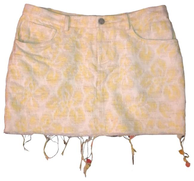 Item - Yellow and White Jacquard Linen Blend Skirt Size 0 (XS, 25)