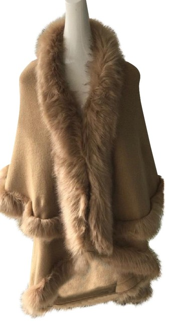 Item - Camel Taupe Layered Fur Trimmed Half Vest Winter Wrap Poncho/Cape Size OS (one size)