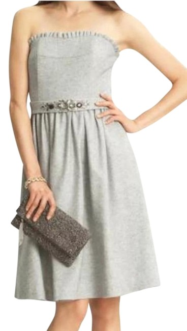 Item - Silver Gray Collection Wool Strapless Short Formal Dress Size 00 (XXS)
