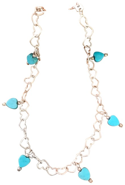 Item - Blue Genuine Heart Turquoise Sterling Silver Anklet