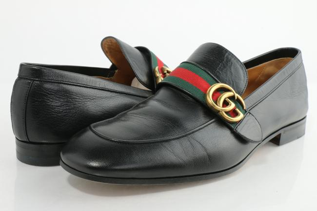 Item - Black Leather Loafer with Double G and Web Shoes
