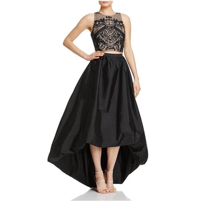 Item - Black / Nude Halter Beaded High Low Two Piece Long Formal Dress Size 6 (S)