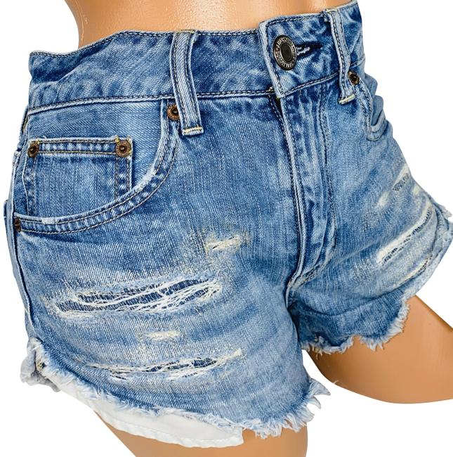 American Eagle Outfitters Blue Hi Rise Festival Jean Shorts Size 4 (S, 27) American Eagle Outfitters Blue Hi Rise Festival Jean Shorts Size 4 (S, 27) Image 1