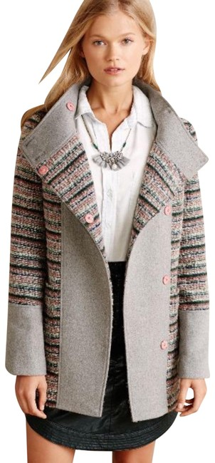 Anthropologie Gray Cocoon Cartonnier From Boucle Confetti Jacket Wool Coat Size 2 (XS) Anthropologie Gray Cocoon Cartonnier From Boucle Confetti Jacket Wool Coat Size 2 (XS) Image 1
