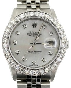 Rolex 36MM MEN'S ROLEX DATEJUST S/S 3.2 CT DIAMONDS WATCH , WHITE MOP DIAMOND DIAL