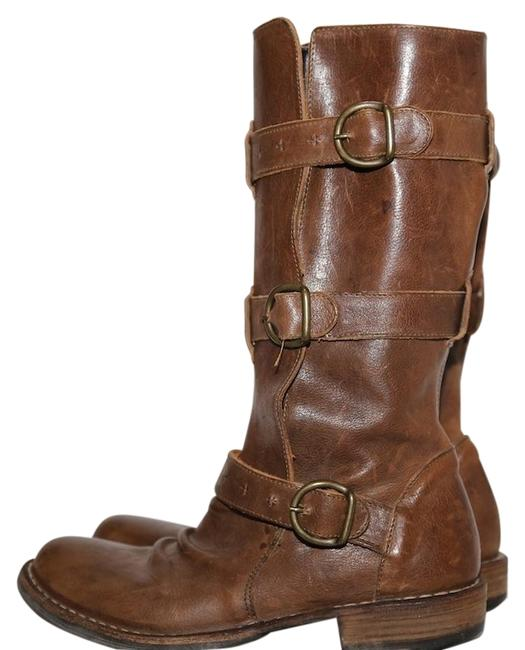 Item - Brown Leather Triple Buckle Mid Calf Boots/Booties Size US 6.5 Regular (M, B)