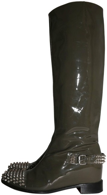 Item - Green Egoutina Spiked Patent Leather Riding Boots/Booties Size US 8.5 Regular (M, B)