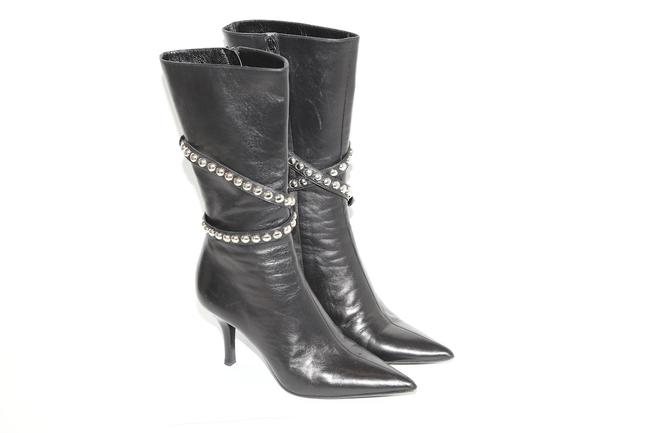 Item - Black Leather Studded Stiletto Pointed Toe Mid-calf Boots/Booties Size US 5.5 Regular (M, B)