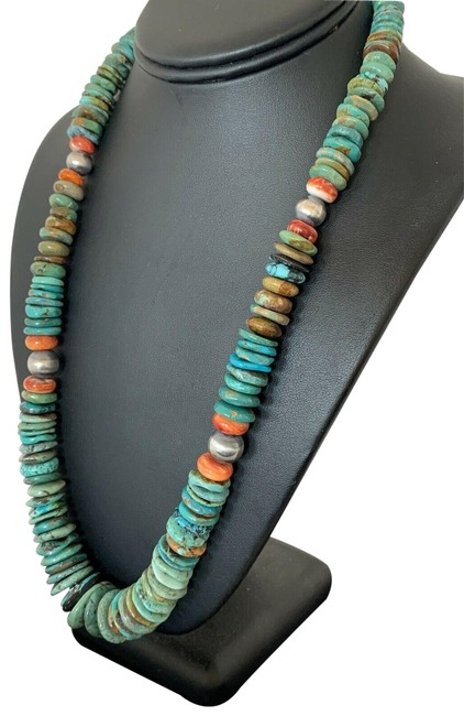 Item - Blue Silver Native American Navajo Turquoise Sterling 480 Necklace