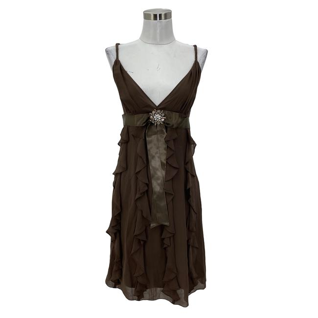 Item - Brown N602 Bcbg Max Azria Designer Medium Ruffle Silk Mid-length Formal Dress Size 8 (M)