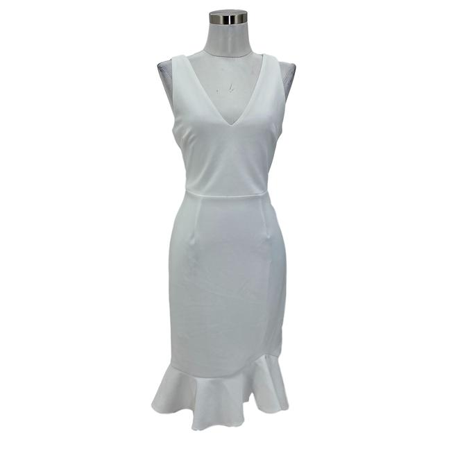 Item - White N237 Designer Small Solid Bodycon Mid-length Formal Dress Size 4 (S)