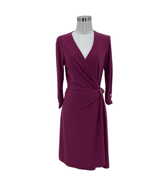 Item - Pink 1390 Designer Medium 10 Magenta Solid Gold Wrap Mid-length Formal Dress Size 8 (M)