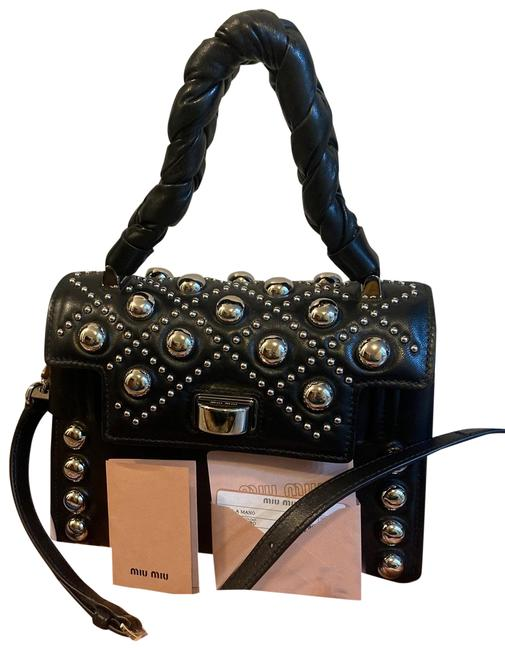 Miu Miu Silver Studded Black Lambskin Leather Cross Body Bag Miu Miu Silver Studded Black Lambskin Leather Cross Body Bag Image 1