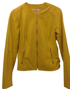 Ellie Shoes Leather Italian Modern Yellow Leather Jacket