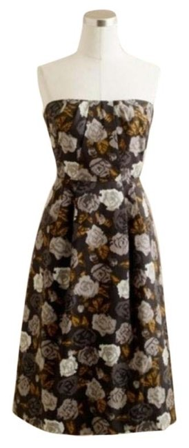 Item - Brown Gray Strapless Floral Marielle Sheath Short Cocktail Dress Size 0 (XS)