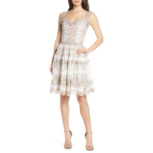 Item - White/Grey Marie Floral Lace Bell Skirt Mid-length Cocktail Dress Size 8 (M)