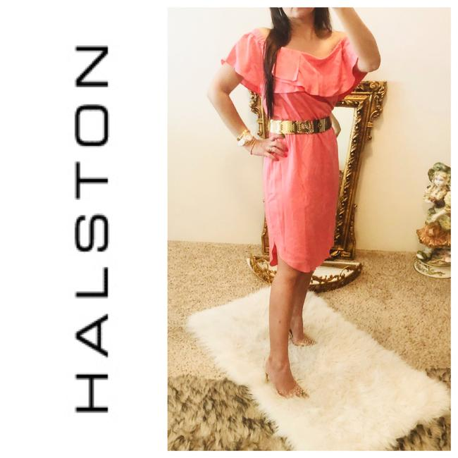 Item - Pink Off The Shoulder Salmon/Pink M. Mid-length Short Casual Dress Size 8 (M)