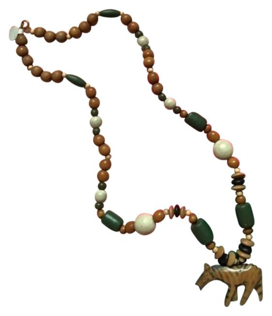 Item - Brown Green Wooden Wood Beaded Talisman Necklace