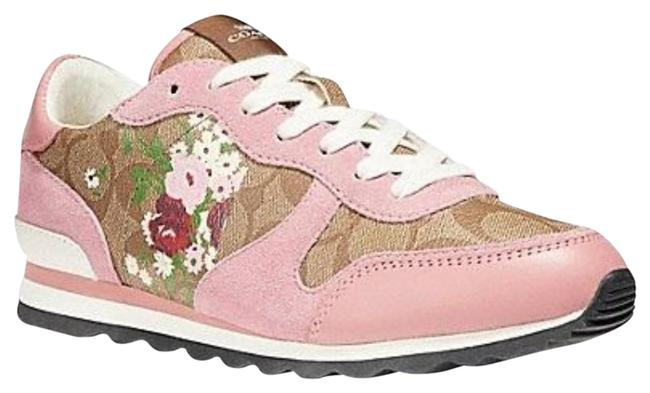 Item - Pink Signatuer C Floral Suede and Leather Trim Sneakers Size US 7 Regular (M, B)