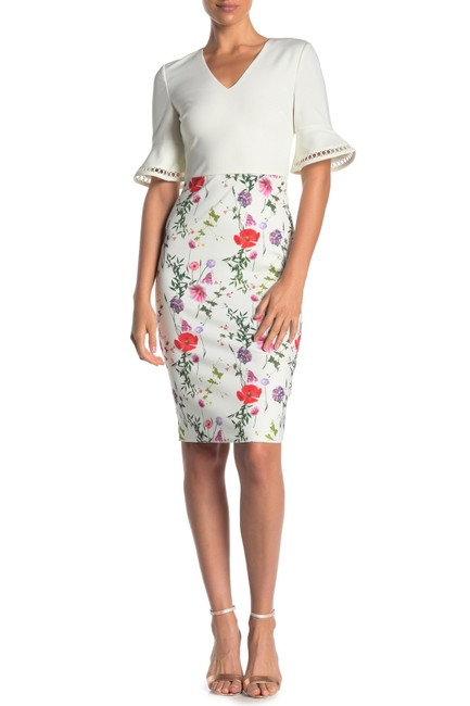 Item - White Wesa Hedgerow Floral Print Bodycon Mid-length Night Out Dress Size 8 (M)