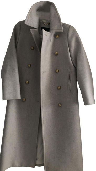 Item - Grey with Gold Buttons Long Coat Size 0 (XS)