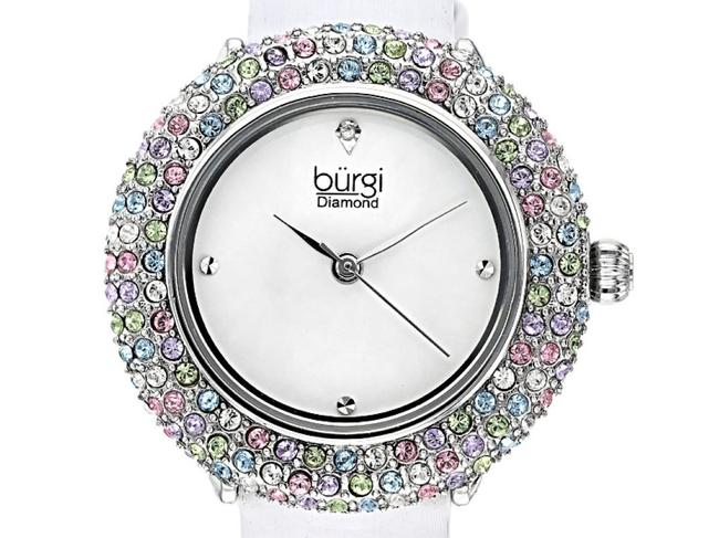 Item - White and Multi ™ Diamond Accents & Swarovski™ Crystals Satin Over Leather Watch