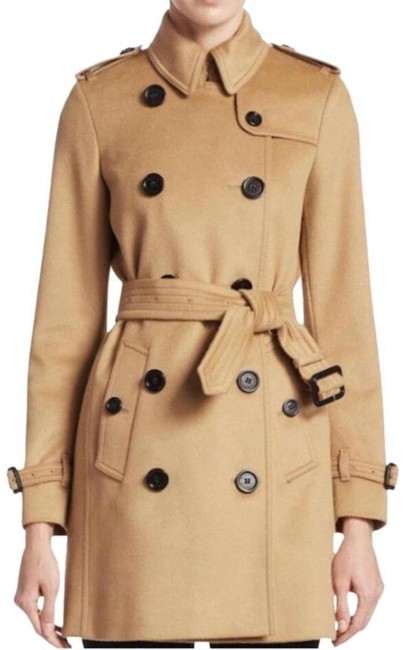 Burberry Camel Kensington Double Breasted Wool Cashmere Coat Size 8 (M) Burberry Camel Kensington Double Breasted Wool Cashmere Coat Size 8 (M) Image 1