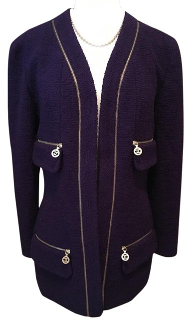 Item - Purple Fantasy Tweed Boucle Wool Jacket Blazer Size 4 (S)