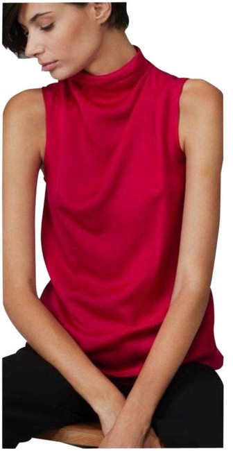 Item - Red Pure Silk with High Draped Collar Blouse Size 12 (L)