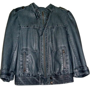 Inked& Faded Faux Leather Denim Blue Leather Jacket