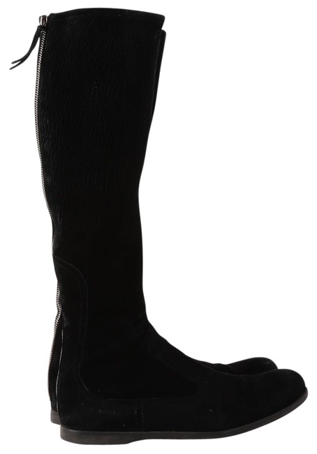 Item - Black Knee High Stretch Suede Flat Boots/Booties Size US 7.5 Regular (M, B)
